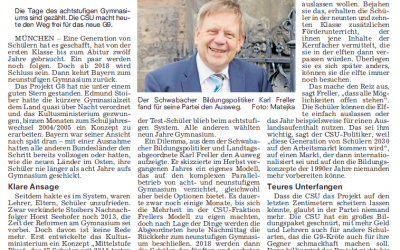 NN: Heute kehrt das G9 nach Bayern zurück
